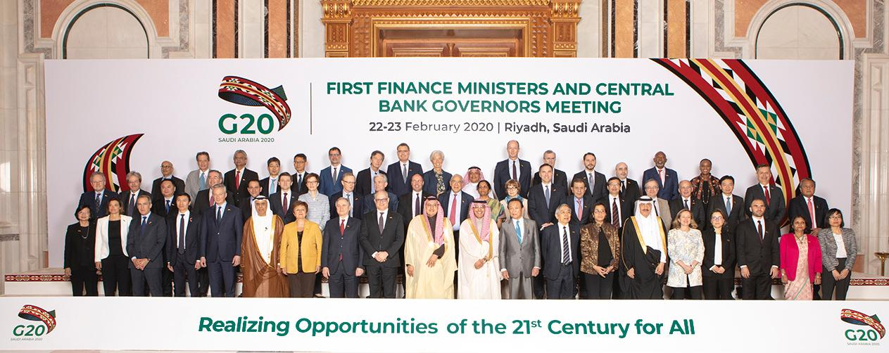 Group photo of the Finance Ministers and Central Bank Governors with Federal Councillor Ueli Maurer, G20 Riyadh, 22.-23. February 2020. © G20 Saudi Arabia 2020